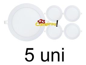 5 Painel Plafon 18w Led Embutir Redondo Slim Branco Frio