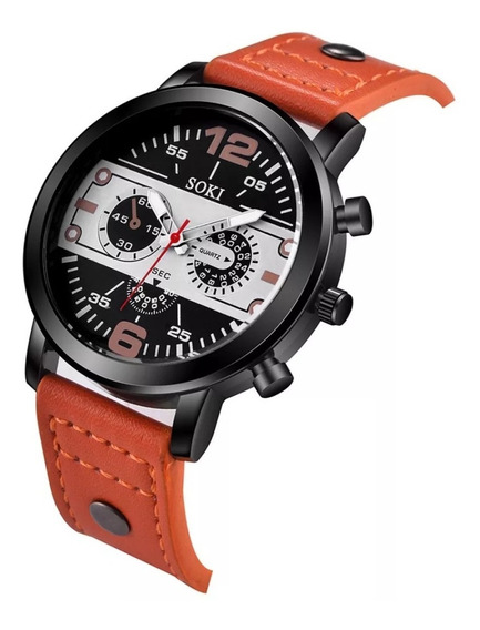 Reloj Hombre Cuero Acero Sport