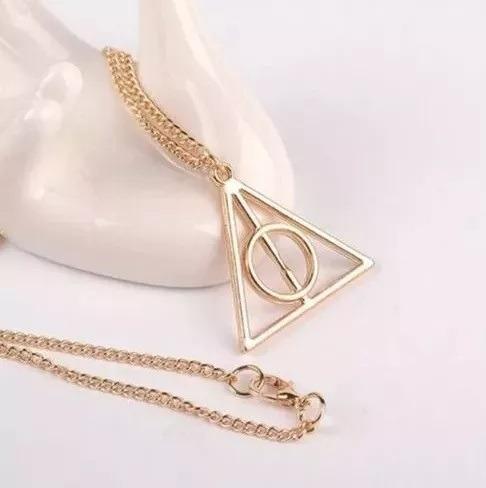 Colar Harry Potter Relíquias Da Morte Dourado Gold