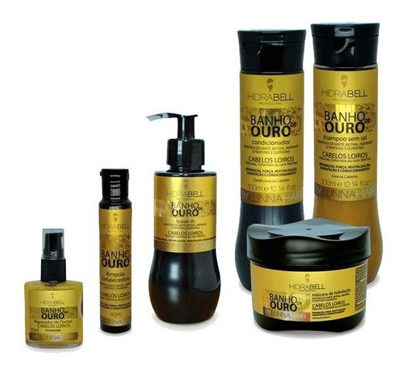 Hidrabell Ouro Cabelos Brilhosos Verniz Kit 6 Produtos