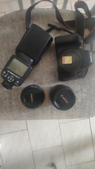 Câmera Canon Rebel T6i C/ 18-55mm E 50mm Flash Pouco Usada