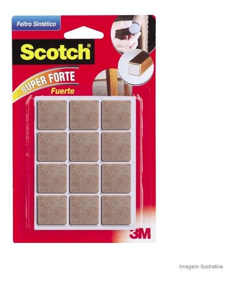 Feltro Sintético Quadrado Pequeno 12 Unidades Marrom 3m Scotch 3m