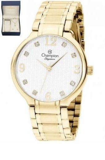 Kit De Relógio Champion Analógico Feminino Cn26831w Dourado