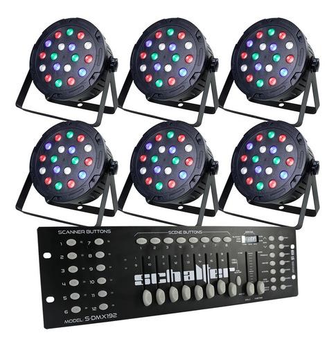 Imagen 1 de 9 de Kit 6 Luz De Leds Cañon Led 18x1w Pack Con Controlador Dmx