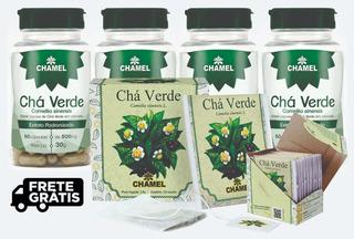 Kit4 Un Chá Verde Chamel 240 Capsulas Brinde Cha Verde Sache