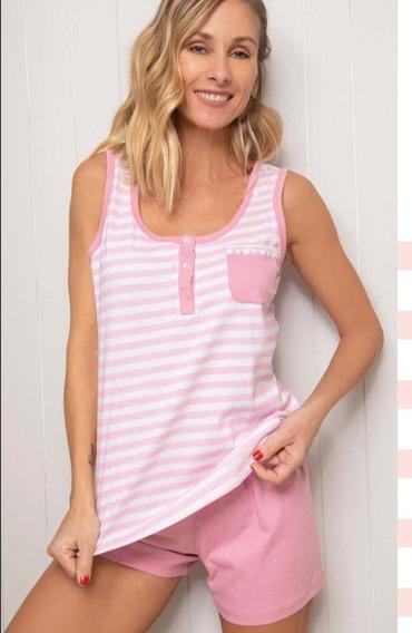 Pijama Mujer Verano 20517 - Con Rayas Y Bolsillo Delantero