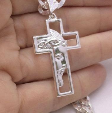Pingente Face De Cristo 1134 3,7cm X 2,2cm Prata Italiana 990