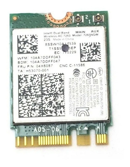 Placa Pci Notebook Intel Dual Band Wireless-ac 7260 7260ngw
