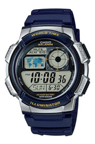 Relogio Casio Ae 1000w-2a Borracha Mapa Azul Crono Alarme