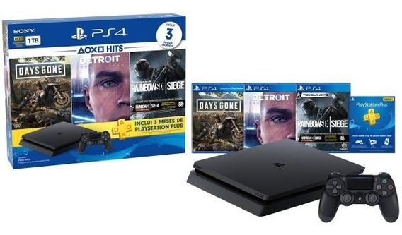 Playstation 4 1tb 1 Controle Sony Com 3 Jogos-headset