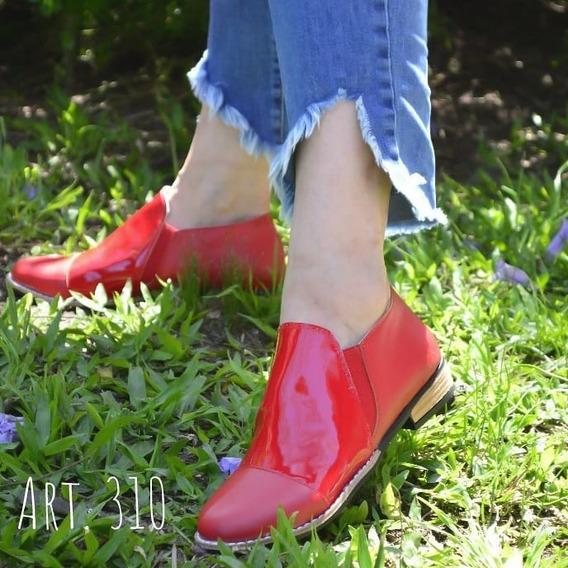 Zapato Bajo Cuero, Charol Combinado Chelsea Boots
