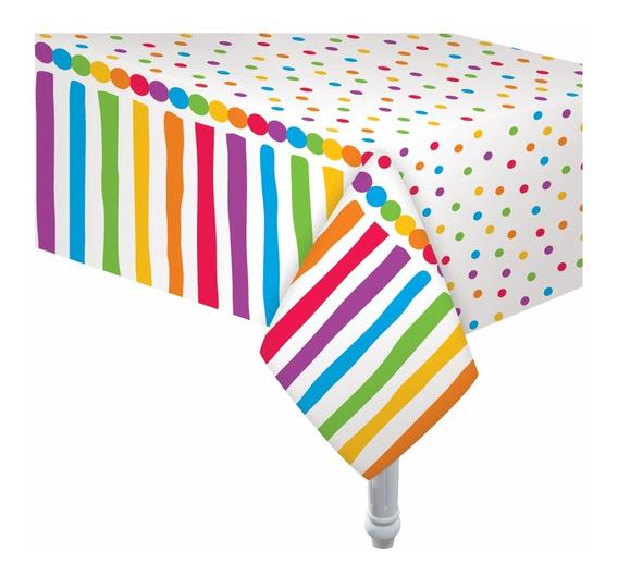 Mantel Plastico Cumpleaños Multicolor 180 X 130cm Cotillon