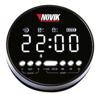 Parlante Reloj Radio Despertador Portatil Novik Cromo Negro