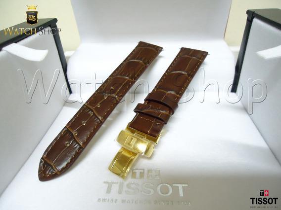 Pulseira De Couro Tissot Prc 200 T17 19mm Marrom Dourada
