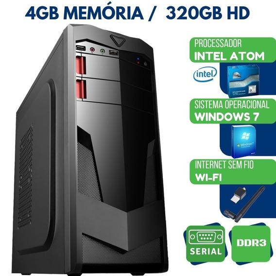 Computador Pc Intel Atom 4gb Hd 320gb Wifi Windows 7
