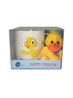 Caneca Happy Friends Pato Com Chaveiro 325ml Bon Gourmet