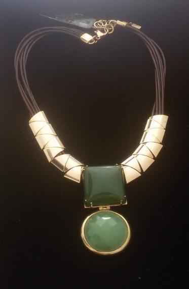 Colar Couro Pedra Narural Semi-joias Banhada A Ouro 18k