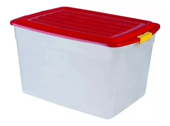 Caja Organizador Plastico Apilable Tapa Taper 42 Litros X 4 Colombraro