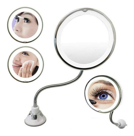 Espelho Led 360 Flexível 10x Aumento Ventosa Maquiagem Barba
