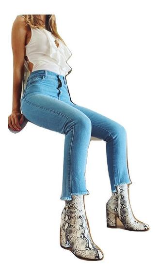 Jeans Jean Mujer Elastizados Tiro Alto Chupin Dama Calce Perfecto Premium Talles 2