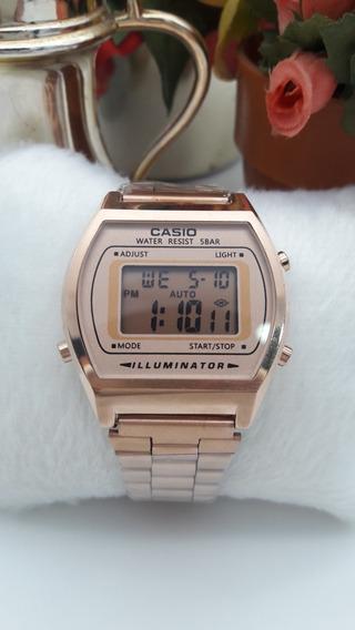 Relógios Feminino Casio Digital Aço Rosa Ótima Qualidade