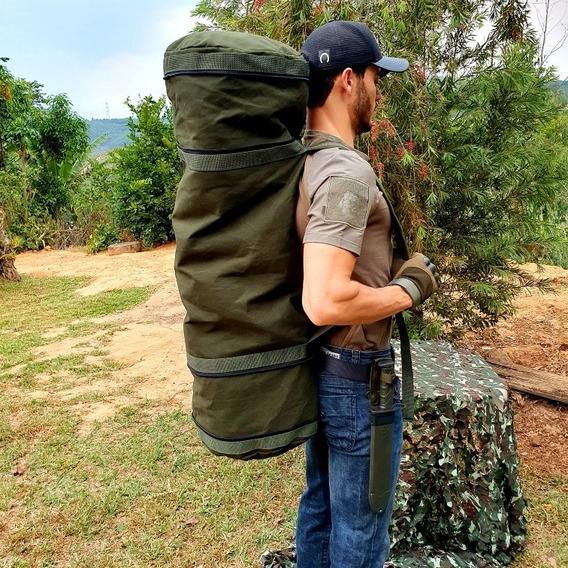 Mochila Militar Tática Exército Em Lona Reforçada 100 Litros