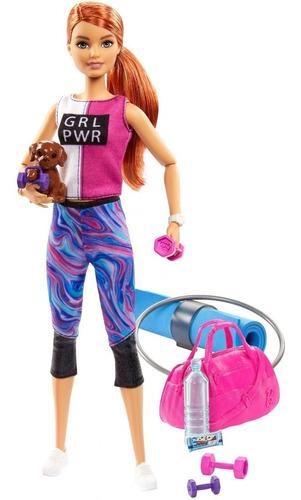 Barbie Pelirroja Fitness Con Cachorro Y 9 Accesorios