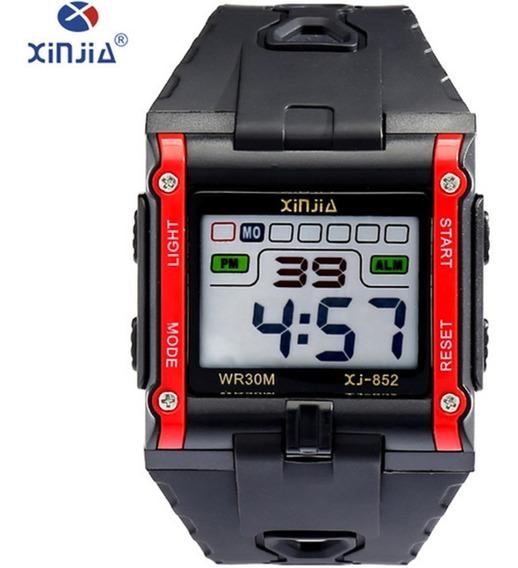 Relógio Masculino Digital Xinjia-852 Vermelho Quadrado