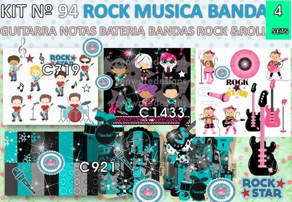 1 Kit Imprimible X 6 Sets Bandas Rock & Roll Musica Guitarra