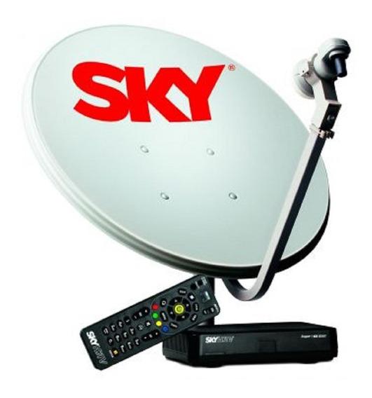 Kit Antena Parabólica Sky 60cm + Receptor Digital Pré-pago