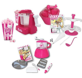Combo Barbie Chef: Pochoclera + Pan Y Pizza + Cupcake