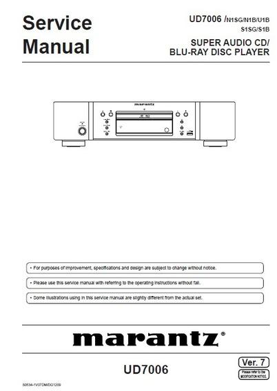 Manual De Serviço Blu-ray Marantz Ud7006 - Em Pdf