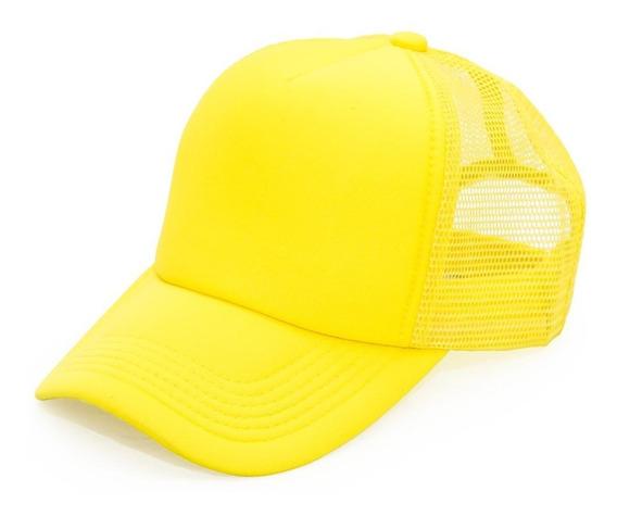 Gorra Cap Trucker Amarilla Fluo Verano Gorro Visera Red