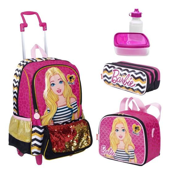 Kit Mochila Infantil Barbie Lancheira Estojo Sestini