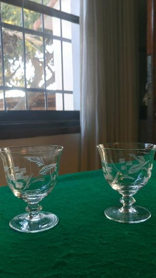 2 Antiguas Copas De Cristal Talladas