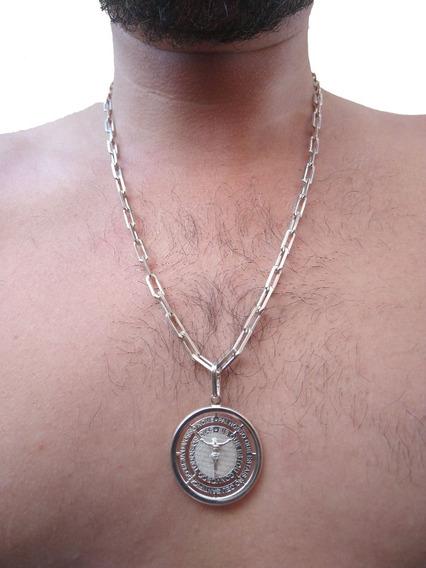 Corrente Cartier Grossa + Medalha Pai Nosso 5mm 60cm Prata