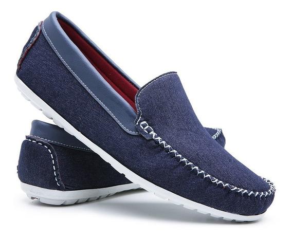 Mocassim Masculino Frete Grátis Promoção Moderno Jeans 588