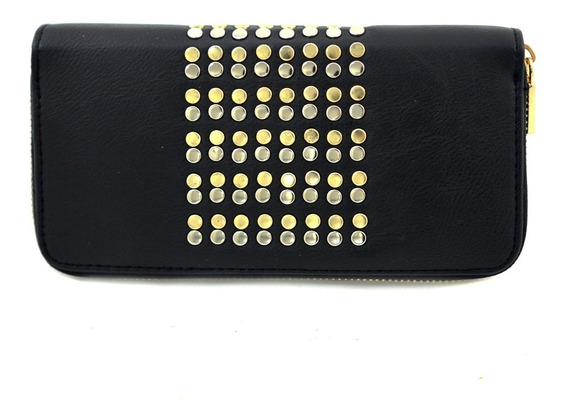 Billetera Negra Con Tachas Plateadas Y Doradas