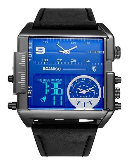 Mens Elegante Relógio De Fuso Horário Múltiplo Moda Relógio