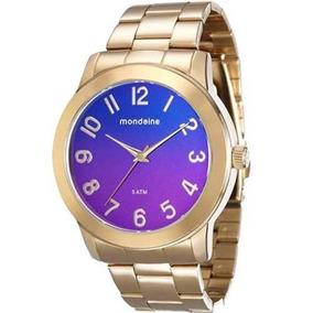 Relógio Feminino Mondaine Dourado Fundo Roxo Lilás Grande