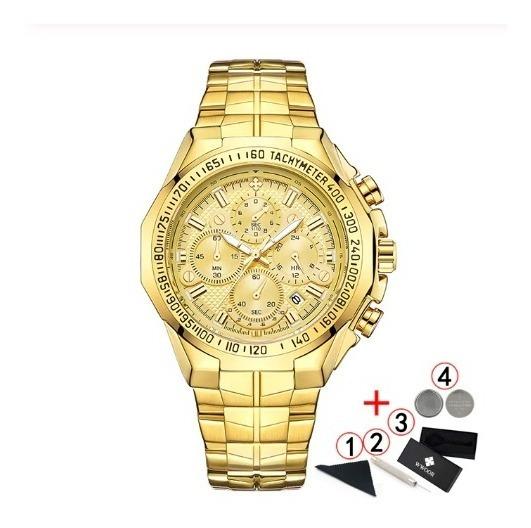 Relógio De Pulso Analógio Dourado Wwoor Original Na Caixa