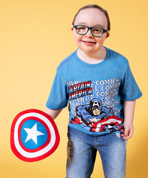 Camiseta Infantil Estampa Capitão América Brinde Marvel