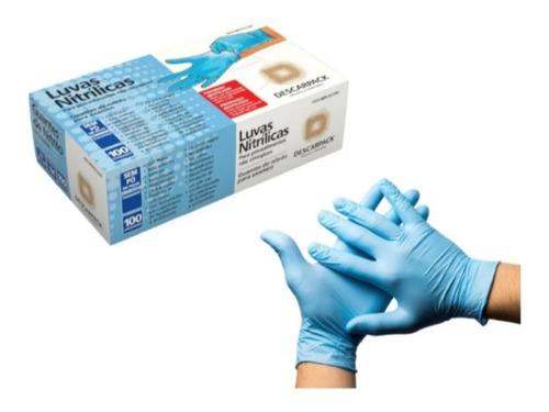 Luva Nitrilica Procedimento Azul Sem Pó Descarpack Tamanho P