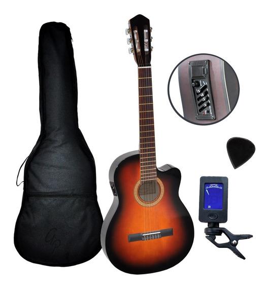 Guitarra Electroacustica Media Caja Nylon Eq Afinador Funda