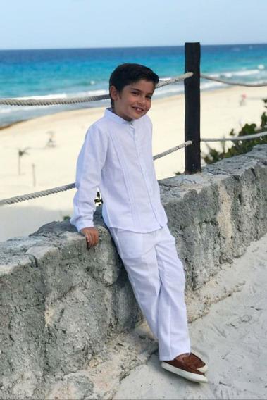 Conjunto Pantalon Y Guayabera Blanca Para Ceremonia Yucatan