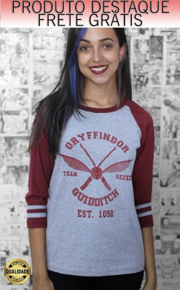 Camiseta Raglan Quadribol Grifinoria Harry Potter Feminina