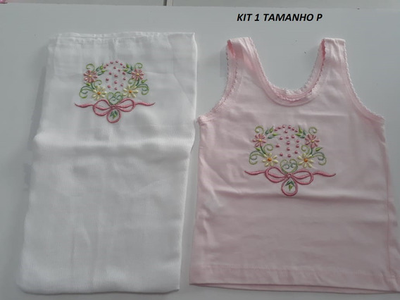 Kit Fralda Ombro Bordada Mais Camiseta