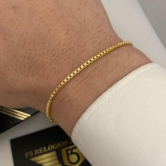 Pulseira Promoção Banhada A Ouro 18k Masculina Veneziana Com Garantia
