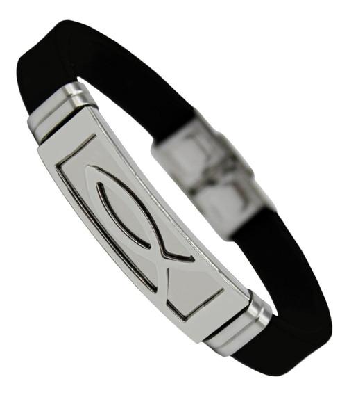 Pulseira Bracelete Masculino Silicone Peixe Jesus Aço Inox
