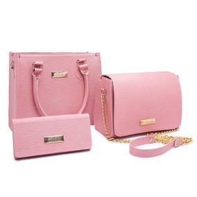 0d263070b Bolsa Feminina Kit Com 3 Bolsas Grande Pequena Bau Carteira